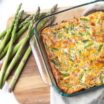 Cheesy ham and asparagus casserole recipe