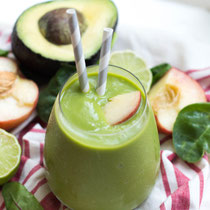 creamy green avocado peach smoothie