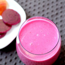 health boosting pink smoothie with beets, apple, and cinnamon