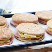 Freezer-friendly ham, egg, and pepperjack cheese breakfast sandwiches