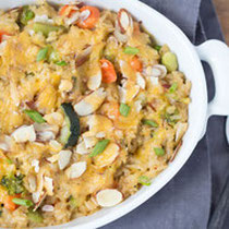 cheesy brown rice veggie casserole recipe