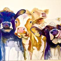 Sell-Vieh1, Mischtechnik auf Leinwand, 120 x 150 cm                                        - Preis auf Anfrage