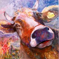 Ferdinand und die Muße,  Mischtechik auf Leinwand, 80x80cm     - Preis auf Anfrage