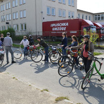 Pause an der neuen Kulissenstadt in Babelsberg