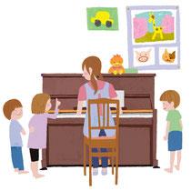保母と園児 ピアノ
