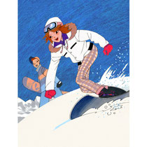 スキーを楽しむ高校生