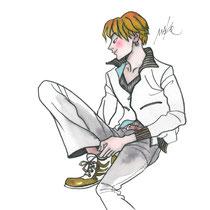 靴ひもを結ぶ男