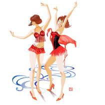 ふたりダンサーとフラミンゴ
