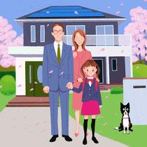 桜咲く電化の家