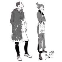 冬のファッション/モノクロ