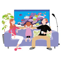 家族と熱帯魚水槽