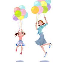 風船と親子