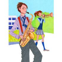 吹奏楽部の高校生