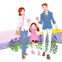花畑を散歩する家族