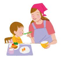 保母と園児 お昼ご飯