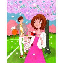 桜の下の高校生
