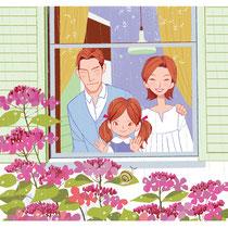 紫陽花と窓