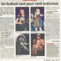 Un festival cent pour cent ardéchois - Le réveil - Octobre 2015