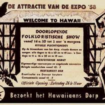 Hawaiian-Village Aankondiging op de Expo in '58