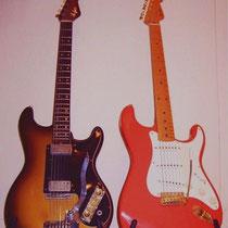 De Höfner 172, links was een goed alternatief voor de 'dure' Fender Stratocaster, rechts.