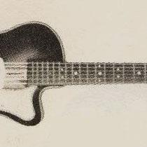 Famos (Venlonia): 'Goede electrische gitaar, in eenvoudige uitvoering, gewelfd boven- en onderblad, bruin geschaduwd gespoten, verstelbare kam, ook goed bespeelbaar zonder ingeschakeld electrisch element, met volume-regelaar en compleet met snoer: fl. 95.