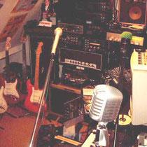 Op de voorgrond een Rock and roll microfoon