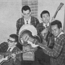 THE JUMPING TORNADOS - Den Bosch  Bezetting 1960-1963: Theo Potmeer (sologitaar/zang) naar The Tropical Rollers Otto Beckman Lapré (gitaar) Karel Verdier (basgitaar) naar The Tropical Rollers Henk Kwaks (drums) naar The Jumping Strings