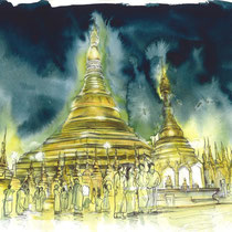 Pagode Shwedagon de Yangon, aquarelle et stylo sur papier aquarelle, carnet de voyage, réalisé par Natpalette