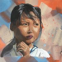 Thin-Thin, huile et acrylique sur toile, 50x65cm, portrait de voyage réalisé par Natpalette (à retrouver dans la BOUTIQUE)
