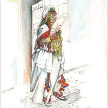 La mariée, aquarelle, stylo et crayons de couleur sur carnet de voyage, réalisé par Natpalette