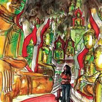 Le temple aux 8000 bouddhas, aquarelle et stylo sur carnet de voyage, réalisé par Natpalette