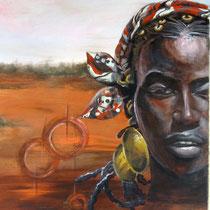 Fièvre Noire, acrylique sur toile, 60x50 cm, portrait de voyage réalisé par Natpalette (VENDU)