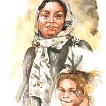 Portrait d' Aicha, aquarelle sur carnet de voyage, réalisé par Natpalette