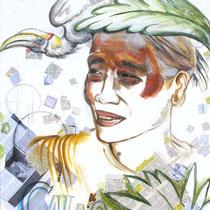 Ethnie Chin au symbole calao, acrylique sur toile, 117x90 cm, portrait de voyage réalisé par Natpalette (à retrouver dans la BOUTIQUE)