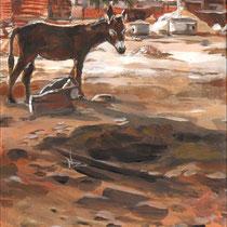 Petit âne à l'entrée du village, acrylique sur carnet de voyage, réalisé par Natpalette
