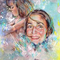 Portrait Mère_Enfant, acrylique sur toile, 92x73 cm, réalisé par Natpalette