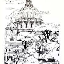 Basilique St Pierre de Rome, stylo sur carnet de voyage, réalisé par Natpalette