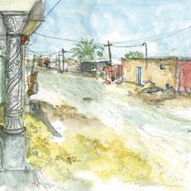 Rue de Douz Ghlissia, aquarelle sur carnet de voyage, réalisé par Natpalette