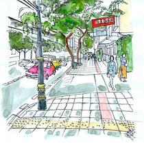 Rue de Bangkok en Thailande, aquarelle et stylo sur carnet de voyage, réalisé par Natpalette