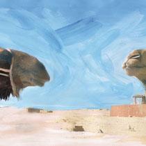 Face à face de dromadaires, acrylique sur photo, carnet de voyage, réalisé par Natpalette