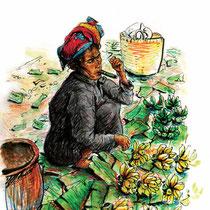 Vendeuse au cheerot (cigare) du lac Inle, aquarelle, crayons de couleur et feutre noir sur carnet de voyage, réalisé par Natpalette