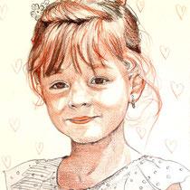 Portrait petite fille, aux trois crayons, 29.7x21 cm, réalisé par Natpalette