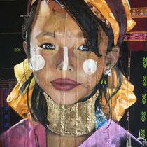 Jeune Birmane, huile sur tissus, 65x50 cm, portrait de voyage réalisé par Natpalette (VENDU)