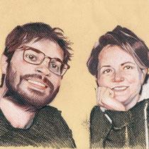 Portrait de couple, aux trois crayons, 21x29.7 cm, réalisé par Natpalette