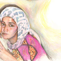 Portrait de Nesrine et de son frère, crayons de couleur sur carnet de voyage, réalisé par Natpalette