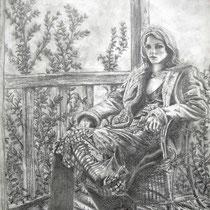 Fraiche attente, crayons graphites, 29.7x21 cm, scène réalisée par Natpalette