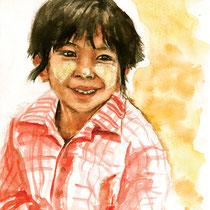 Petite vendeuse, aquarelle sur carnet de voyage, réalisé par Natpalette