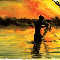 Pêcheur au coucher de soleil, pont U-Bein, aquarelle et encre de chine sur papier aquarelle, réalisé par Natpalette