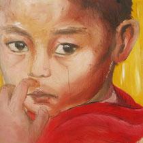 Petit moine, huile, 37x47 cm, portrait de voyage réalisé par Natpalette