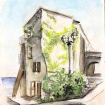 Charme Corse, aquarelle sur carnet de voyage, réalisé par Natpalette